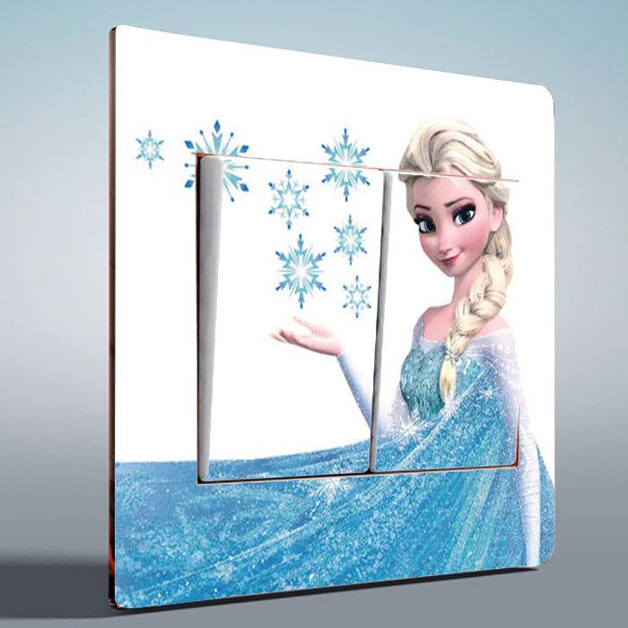 1 pcs Light Switch Stickers cartoon snow queen Elsa princess anna PVC wall stickers Kids Rooms girls bedroom living
