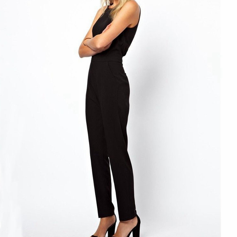 2015 Summer Style Women Casual Elegant Black Back Zipper Hollow Sleeveless Long Jumpsuit Playsuits Rompers Trousers Plus Size