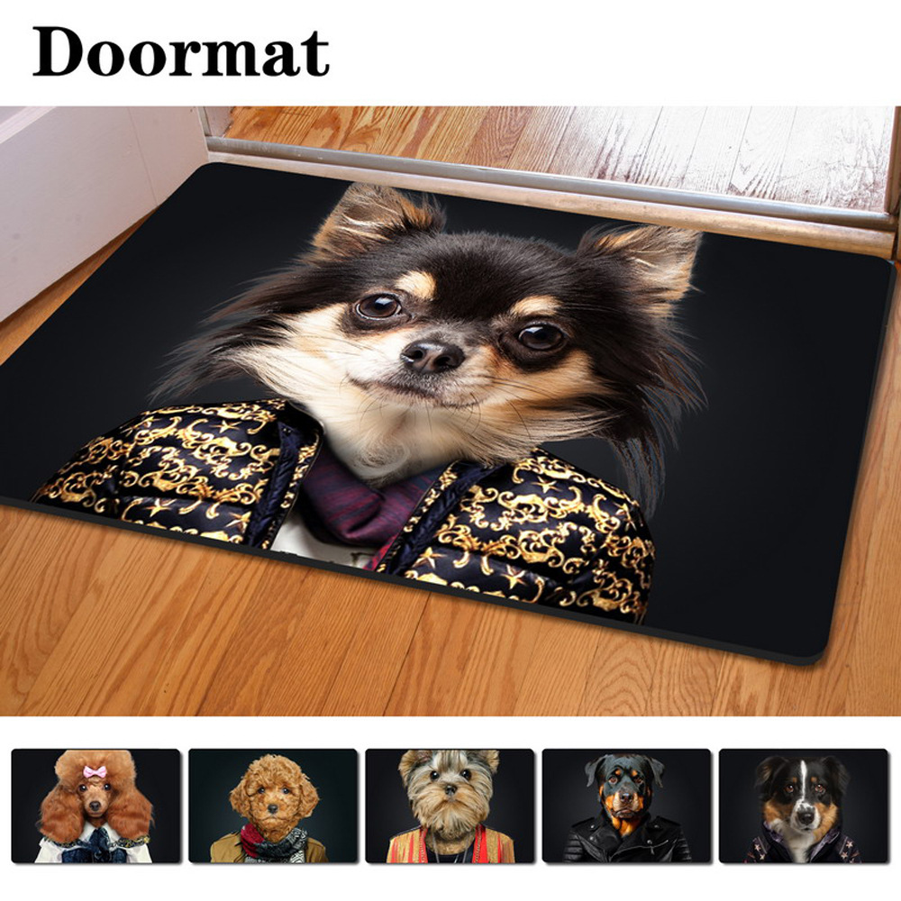 Rubber floor mats for dogs - 40 60cm Non Slip 3d Printed Doormat Wearing Clothes Dog Printing Rubber Door Mat For Living Room Bedroom Floor Mats Kitchen Rug