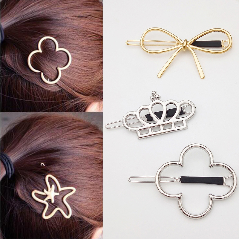 SP&CITY Popular Metal Hair Clips For Girls Solid Women Multifunctional Headwear Fashion Bow Crown Hairpins Hair Accessories retro vintage women ladies girls hair clips crystal butterfly bowknot hairpins hair accessories