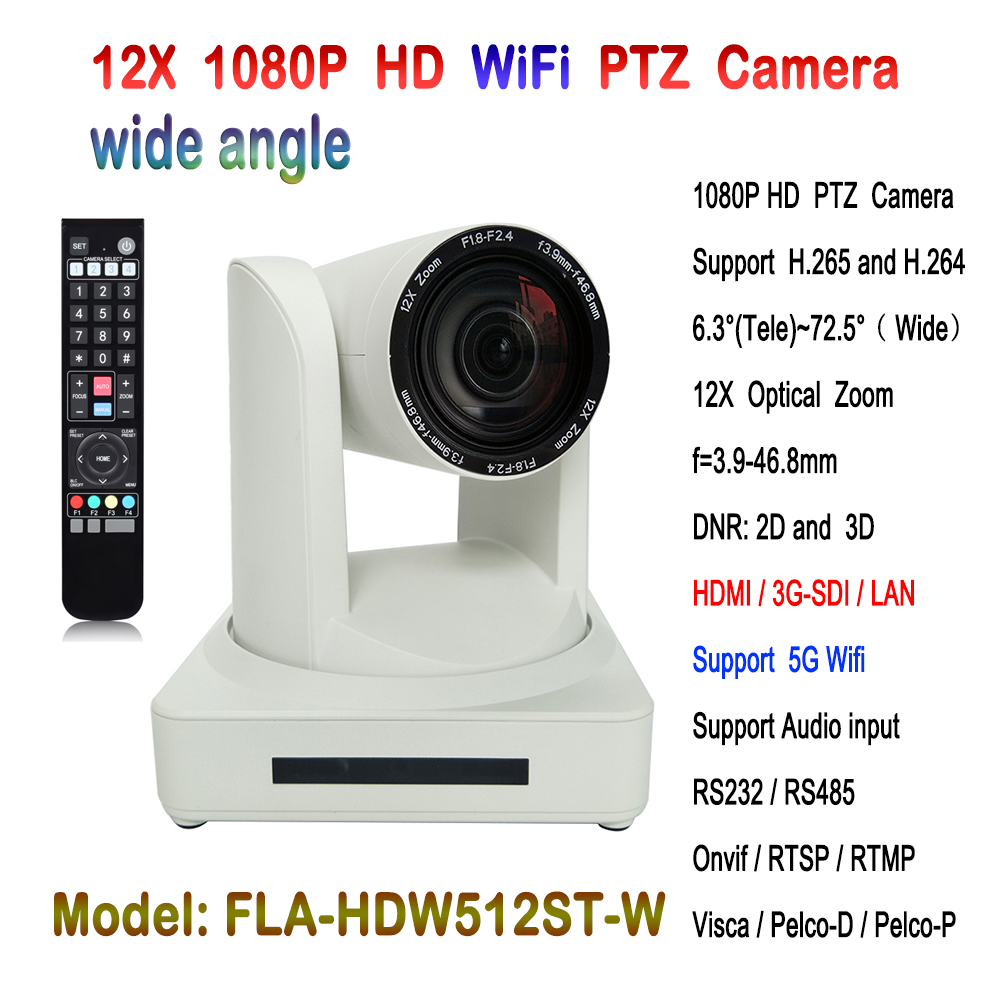 Indoor 2MP Full HD Wifi Metal IP Network PTZ Camera 12x Optical Zoom Lens IP Streaming 72.5 degree FOV White