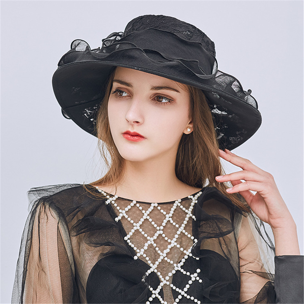 Womens Ladies Church Wide Brim Tea Party Wedding Hat Fancy Derby Cap Fashion Quick Dry UV Protection Outdoor 2019