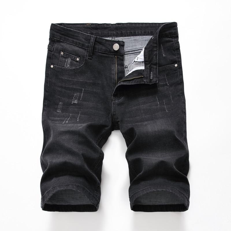 Summer Denim Shorts Men Stretch Slim Fit Short Jeans Mens Designer Cotton Casual Distressed Shorts Knee Length Black Denim Short