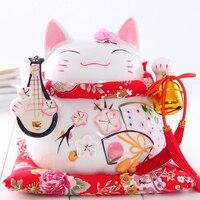 8 인치 Maneki Neko 세라믹 럭키 고양이 류트 홈 장식 장식품 크리 에이 티브 비즈니스 선물 포춘 고양이 돈 상자 Fengshui 공예