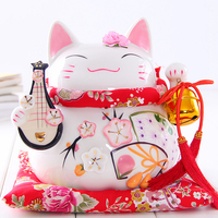 8 inch Maneki Neko Ceramic Lucky Cat with Lute Home Decor Ornaments Creative Business Gifts Fortune Cat Money Box Fengshui Craft