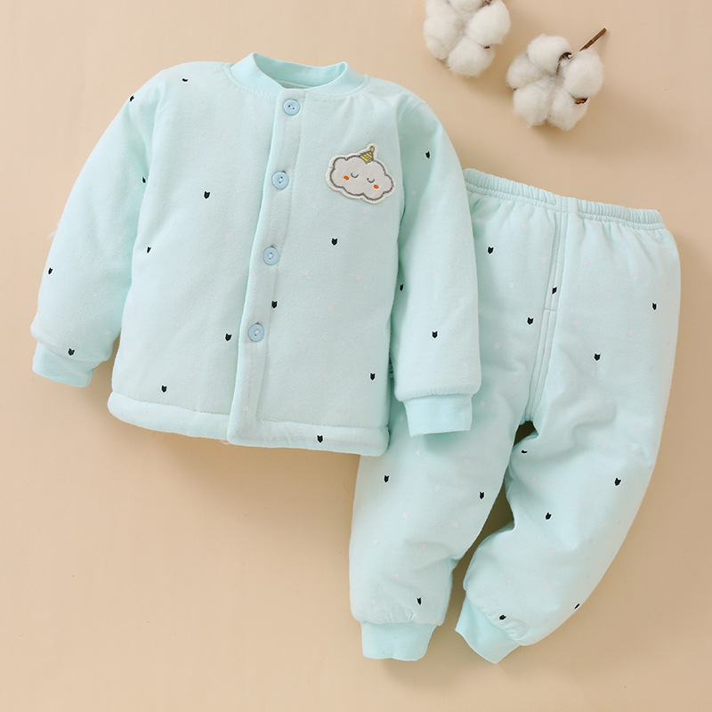 Autumn And Winter Baby Underwear Pure Cotton Virgin Suit Newborn Baby With Warm Boneless Thick Lined Cotton Clothing