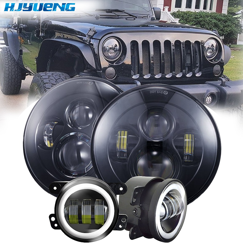 HJYUENG 45w for Jeep wrangler 7Inch LED front headlights replacement with Hi/Lo beam+Black 4inch fog lights lamp white halo 6 inch led headlights eagle light hi lo beam halo ring angel eyes x drl for offroad jeep wrangler front bumper fog light