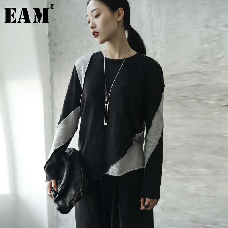 [EAM] 2019 New Spring Solid Color Round Neck Long Sleeve Black Gray Irregular Split Joint T-shirt Women Fashion Tide JE81301S