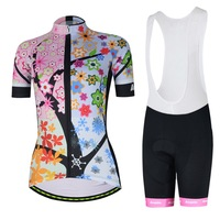 Women Cycling Clothing Kit Reflective Equipe Ladies Maillot Cycling Jersey & White Bib Shorts Set Team Pink Pro Cycling Set