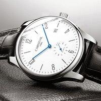 Moda Simples Relógio Ultra fino Nova Chegada Calendário Casual Homens Relógios de Alta Qualidade Pulseira de Couro Relógio Mecânico Automático|Relógios mecânicos| |  -