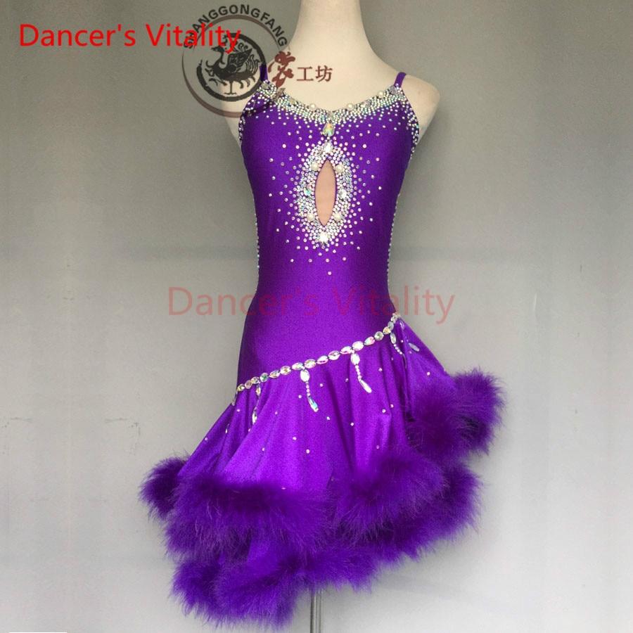 Dancer's Vitality 2017 Harness Style Back Opening Latin Dance Dress Women Samba Salsa Tango Dress For Latin Competition Dress