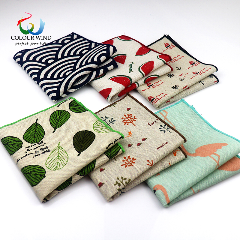 2019 New Style Cotton Linen Fashion Pocket Square Vintage Handkerchief Qstrich Flower Stars Leaves 25*25cm Hankies Towel Casual