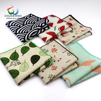2019 New Style Cotton Linen Fashion Pocket Square Vintage Handkerchief Qstrich Flower Stars Leaves 25*25cm Hankies Towel Casual