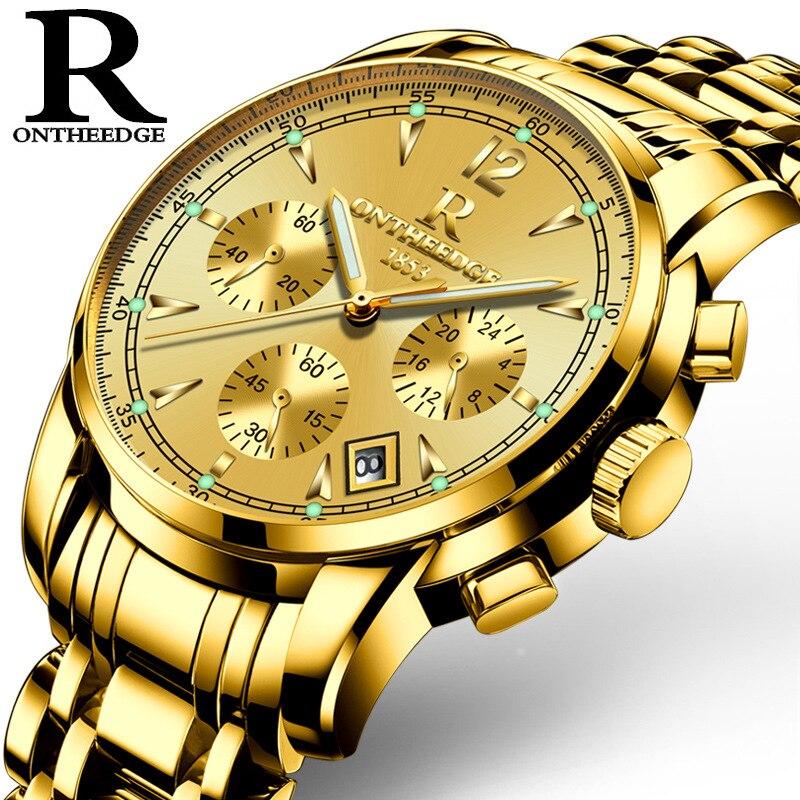 Mens de luxe or montres homme marque montres quartz homme horloge étanche en acier inoxydable de mode D'affaires calendrier ONTHEEDGE