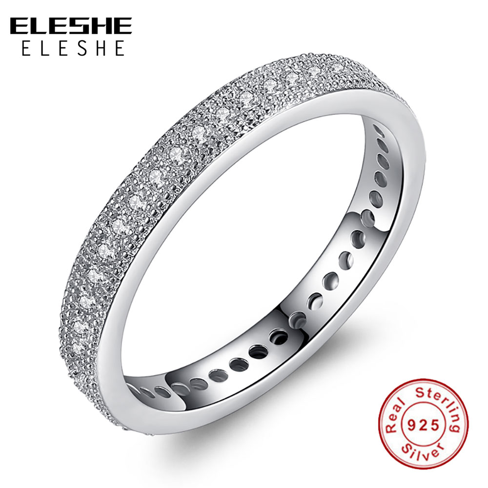 ELESHE Valentine's Day Wedding Crystal 925 Sterling Silver Ring Engagement Cubic Zircon Ring Fashion Brand Bijoux Women Jewelry