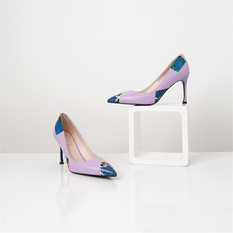 deep Profonde Noir Dames Minces Purple Pompes noir Femmes Chaussures Beige Partie Talons Peu Automne Pointu Robe Bout Couleurs Msstor Printemps Élégant Mélangées BqvRRPwF