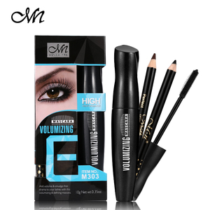 1Set=3pcs Menow Black Thick Mascara + Eye liner Pencil ( Black+Brown) Make Up Set Eye Makeup Long-Lasting Waterproof Cosmetics