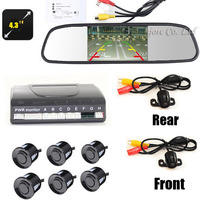 4.3 INCH Monitor Car Parking Sensor System 6 Sensors Alarm Sound Parktronic+ Front camera Rear view Camera Video Parking assist