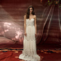 Sexy 2017 Retro Hippie Style Wedding Dresses Sweetheart Sleeveless Vintage Lace Pearl Beaded Backless Bridal Dress New Design