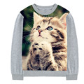 Real 3D Pray cat print t-shirt 2017 fashion girls long sleeve O-neck Children's T-shirt top tees pious cat 2-10y