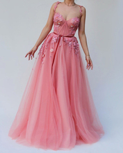 Smileven Peach Sweetheart evening dress Spaghetti Straps saudi arabia Prom Dress 3D Flowers Appliqued Evening Party dresses