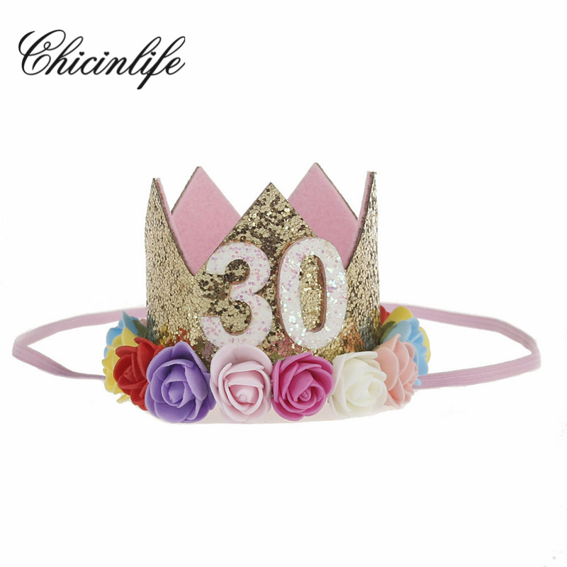 Chicinlife 1Pcs 30th Adult Birthday Crown For Her Party Anniversary Hat Headband Hairband Decoration Supplies
