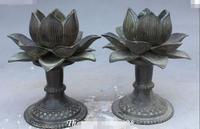 Старый китайский античная бронза цветок лотоса Подсвечник Статуя Пара