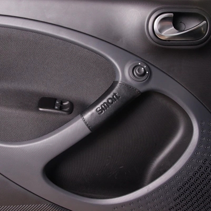 Automotive Interior Door Handle Cover For Mercedes New Smart Fortwo 453 PU Leather Door Protection Decoration Auto Accessories
