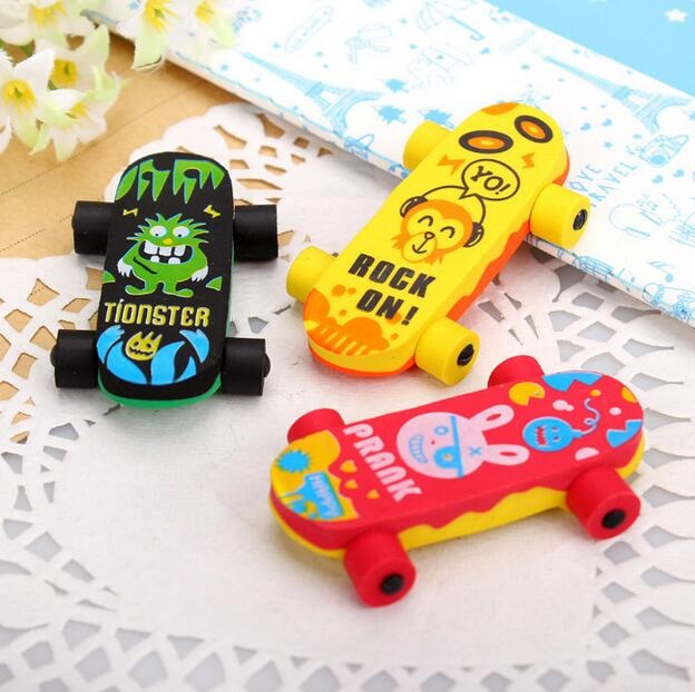 1pcs/pack Kawaii Skateboard Design Detachable Eraser Funny Students' Gift Kids's Puzzle Toy School Stationery Supplies