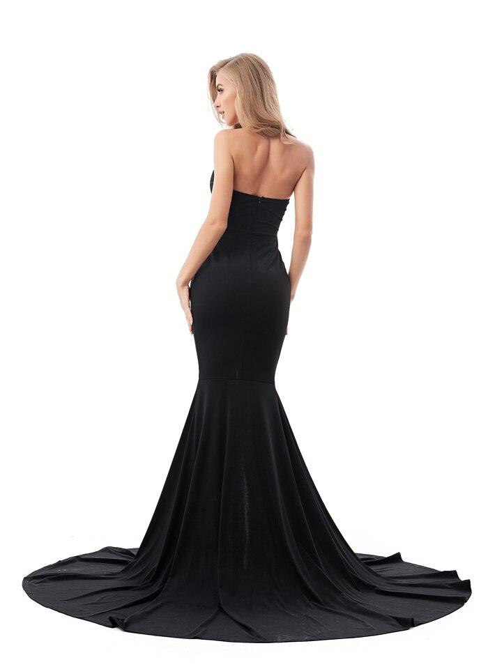 Strapless Split Front  Mermaid Sleeveless Elegant Dress 4