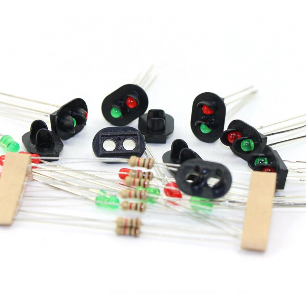 10 pcs Signal Heads With 3mm LEDs for railway signals HO or OO Scale NEW JTD07 Led turn signal model building kit