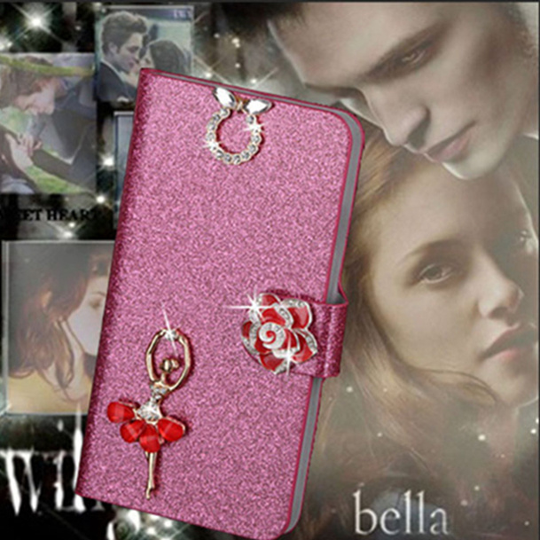 Luxury PU Leather Wallet Case For <font><b>Huawei</b></font> Ascend <font><b>G620s</b></font> Flip Cover Shining Crystal Bling Case with Card Slot & Bling Diamond image