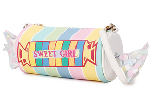 Image 3 - Sweet Candy Design Embroidered Letters Color Stripe Pu Ladies Clutch Bag Shoulder Bag Casual Totes Crossbody Mini Messenger Bag