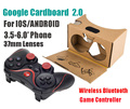 "2016 Google cardboard 2 2.0 Virtual Reality VR 3D glasses for 3.5-6"" Smart phone + wireless bluetooth game controller gamepad"