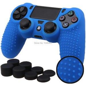 Image 4 - Силиконовый чехол для контроллера Sony Dualshock PS4 DS4 Slim Pro, защитный чехол + колпачки для захвата большими пальцами для Play station 4