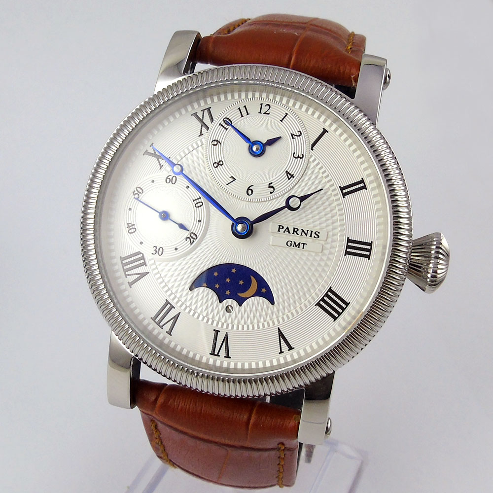 Sweet gifts 42mm parnis White Dial Blue Marks Leather strap GMT Moon Phase automatic Mechanical mens WatchSweet gifts 42mm parnis White Dial Blue Marks Leather strap GMT Moon Phase automatic Mechanical mens Watch