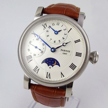 Sweet gifts 42mm parnis White Dial Blue Marks Leather strap GMT Moon Phase automatic Mechanical men's Watch