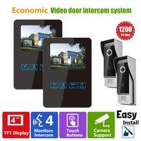 Homefong Цвет ЖК дисплей сенсорный ключ проводной видео дверь домофон Системы Камера 1200TVL HD Ночное видение Водонепроницаемый черный