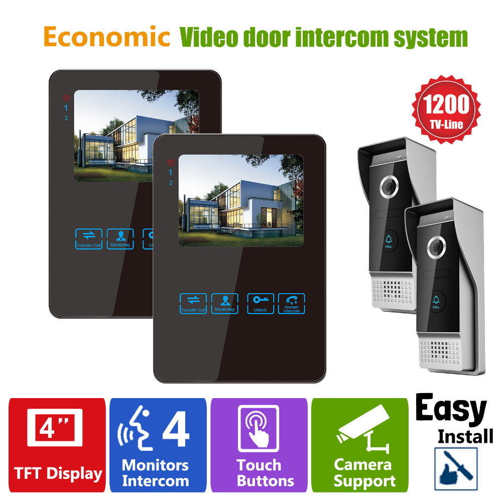 Homefong Color LCD Touch Key Wired Video Door Phone Doorbell Intercom System Camera 1200TVL HD  Night Vision Waterproof Black homefong villa wired night visual color video door phone doorbell intercom system 4 inch tft lcd monitor 800tvl camera handfree