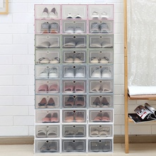 DIY Plastic Shoe Boxes 6PCS Thicken Transparent Flip Cover Storage Box Multifunction Stacked Rectangular Drawer