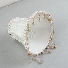 DIA 15cm/5.9inch White lampshades with beads, wall lamp and Chandelier Mini Lamp Shade, Clip On