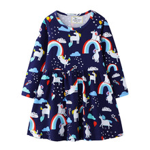 Jumping Meters Long Sleeve Unicorn Dresses For Girls Autumn Spring Clothes Cotton Printed Rainbow Princess Birthday Gift