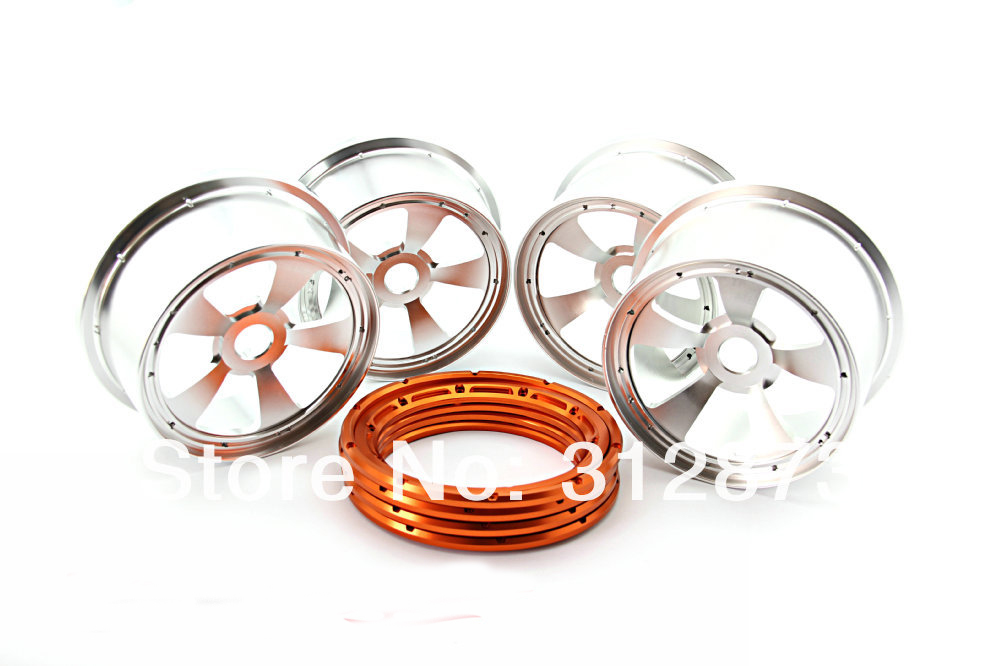 ss rc Car .toy 5t Orange,silver,blue Beadlocck Purposeful Cnc Alloy Rim With Beadlock And Screws For Baja 5b