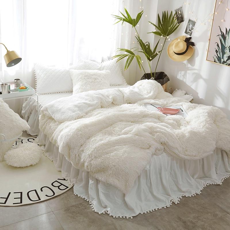 Blanc Rose Princesse ensemble de Literie Roi Reine taille double Enfants Filles Polaire Chaud Housse de Couette Bedskirt Couvre-lit parrure de lit