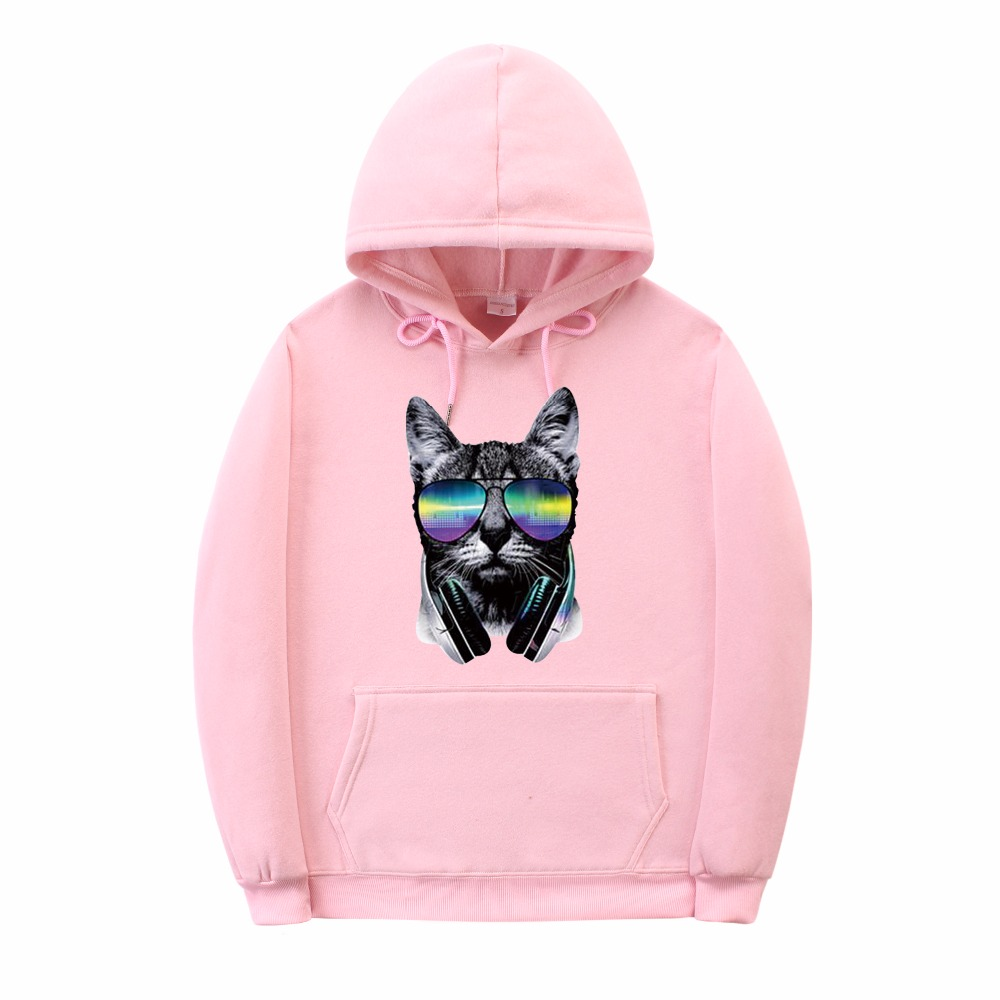 2018 sudaderas hombre Tracksuit Men Fashion Hip Hop Hoodie sweatshirt men sweat homme DJ cat Print Men Women hoodies