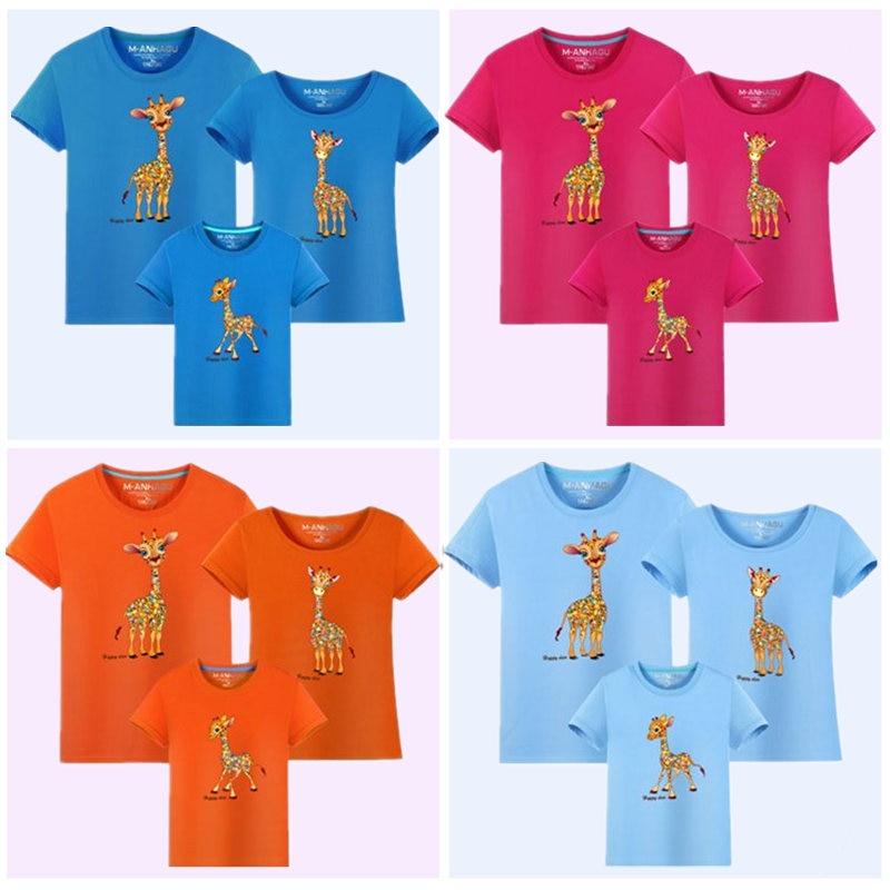 MANHAGU Marka 1 parça Ailə Baxan Heyvanlar Giraffe Köynəkləri - Uşaq geyimləri - Fotoqrafiya 5