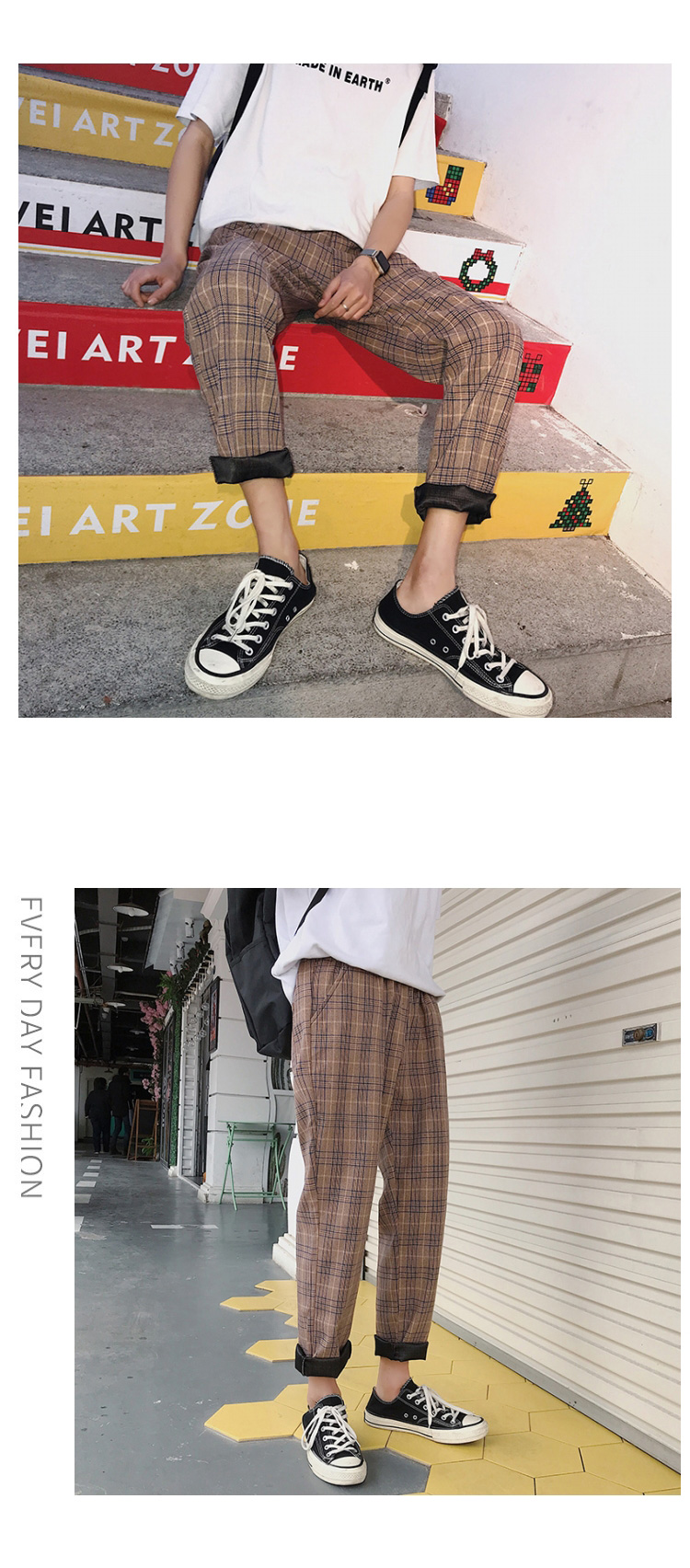 HTB1pEKjbE rK1Rjy0Fcq6zEvVXaC LAPPSTER Streetwear Yellow Plaid Pants Men Joggers 2019 Man Casual Straight Harem Pants Men Korean Hip Hop Track Pants Plus Size