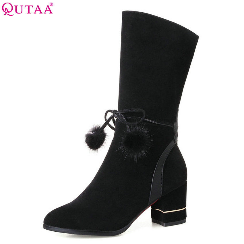 QUTAA 2018 Women Mid Calf Boots Black Pointed Toe Zipper Design Synthetic Leather Fashion Ladies Spring/autumn Boots Soze 34-43 women spring autumn thick mid heel genuine leather rivets back zipper round toe fashion mid calf boots size 34 39 sxq0818