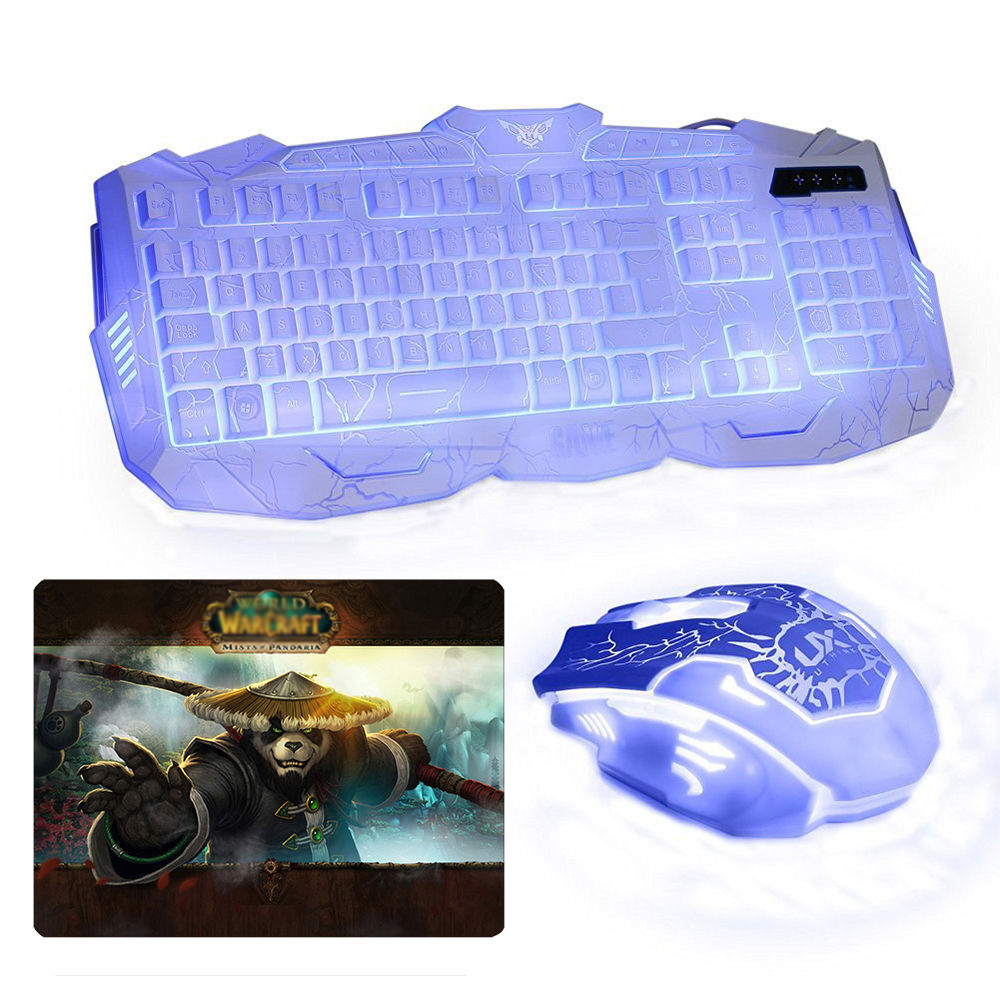 M-100 Wired Three Colors Backlit illuminated Multimedia Ergonomic Usb Gaming Keyboard + Optical PC Gaming Mouse + Cool Mouse Pad rajfoo three backlight colors usb wired gaming keyboard