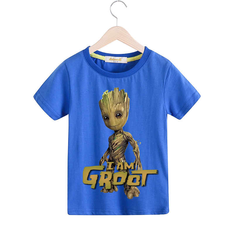 Children Summer Short Sleeve T Shirts Boy 100%Cotton Tee Tops Girl 3D Groot Printed T-shirts Kids Clothing Baby Clothes TX063 new 2015 summer children t shirts baby clothes child 100